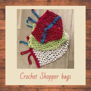 Crochet shopper bags